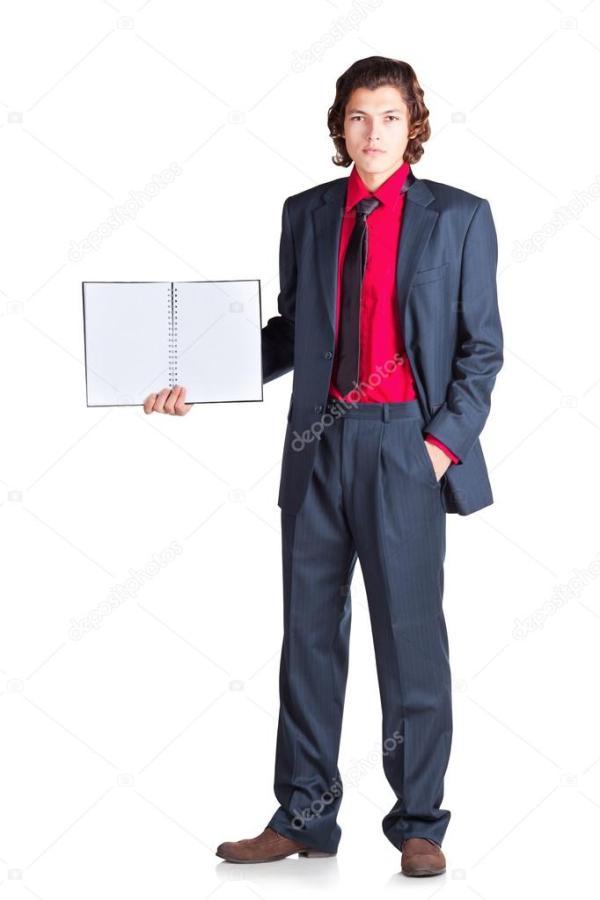Серьезный студент стенды с ноутбука — Стоковое фото ...