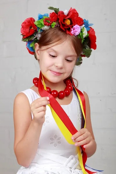 Cute Kids Boy Gives A Flower Little Girl Valentines And