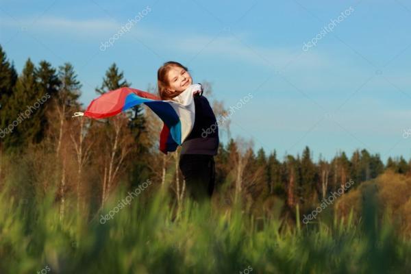 красивая девочка с флагом России — Стоковое фото ...