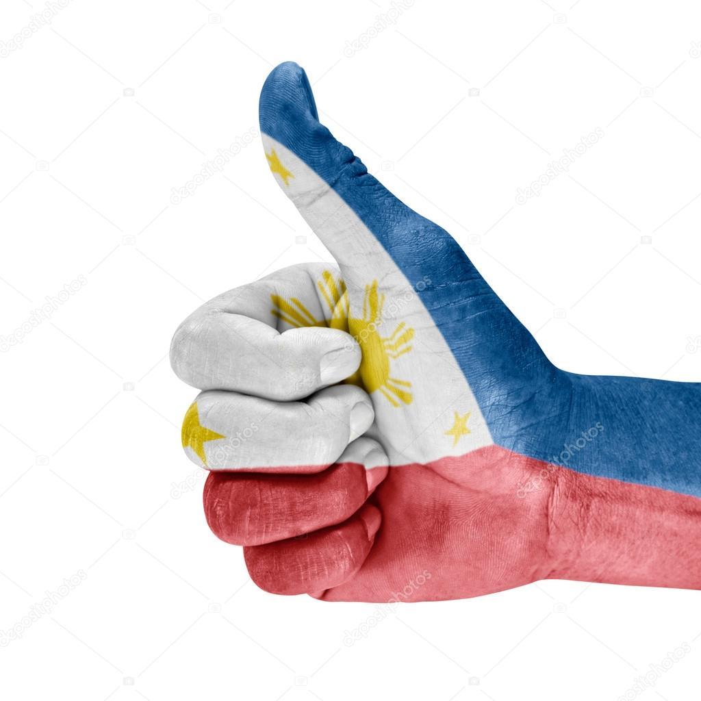 Bandera De Filipinas En Pulgar Mano
