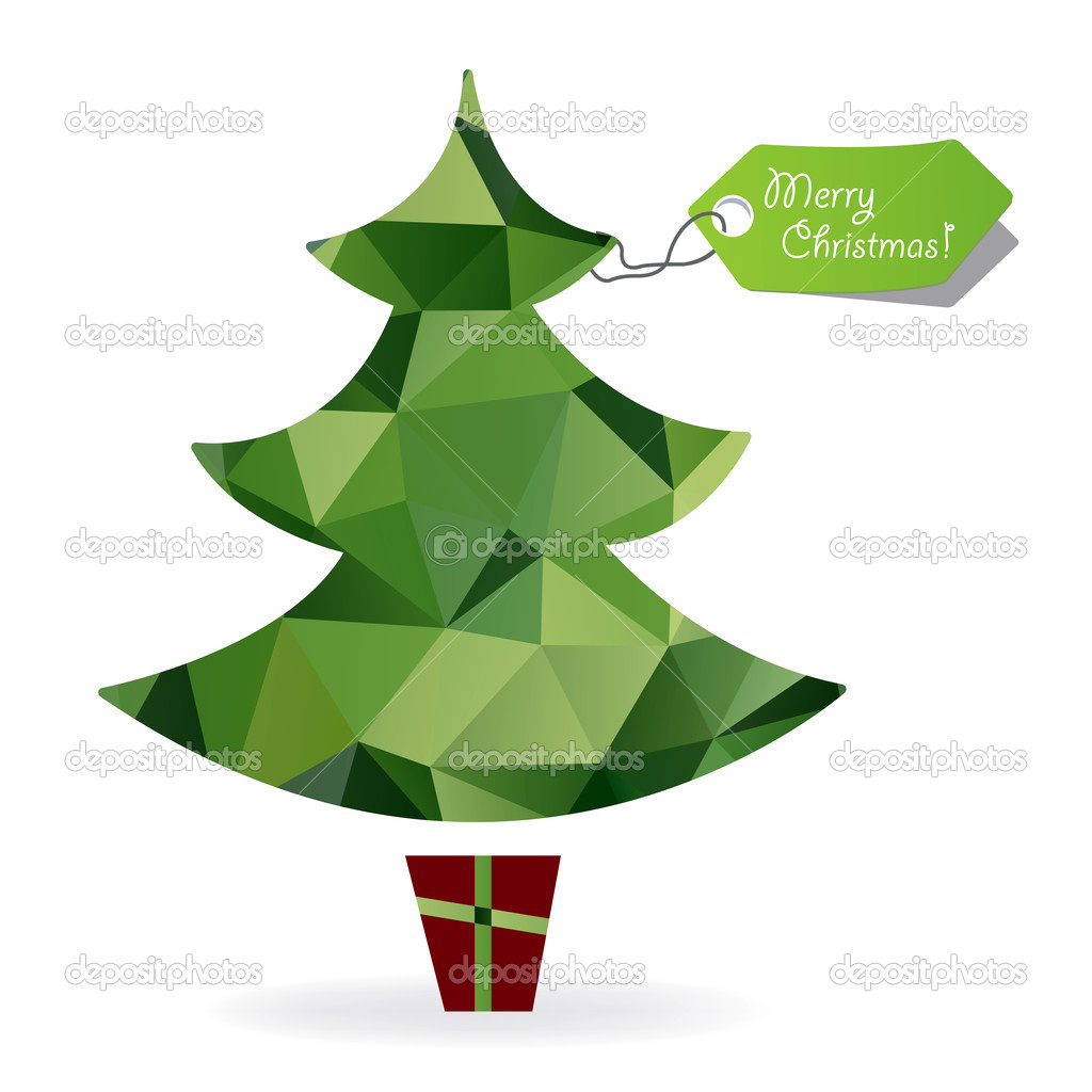 Abstract Christmas Tree Symbol Made Of Triangles Geometric