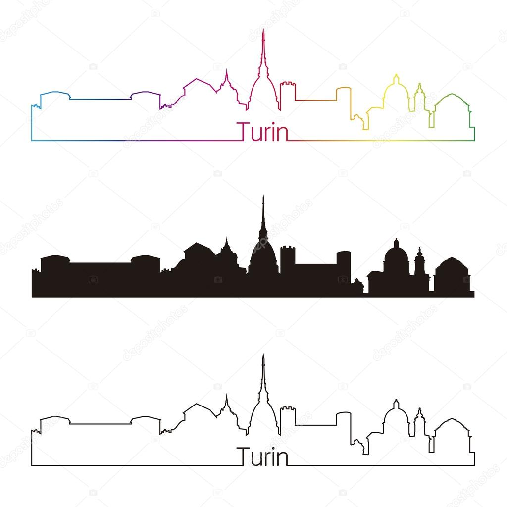 Style Lineaire De Turin Skyline Avec Arc En Ciel