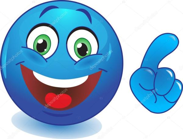 Smiley bleu avec une main pointant du doigt — Image ...
