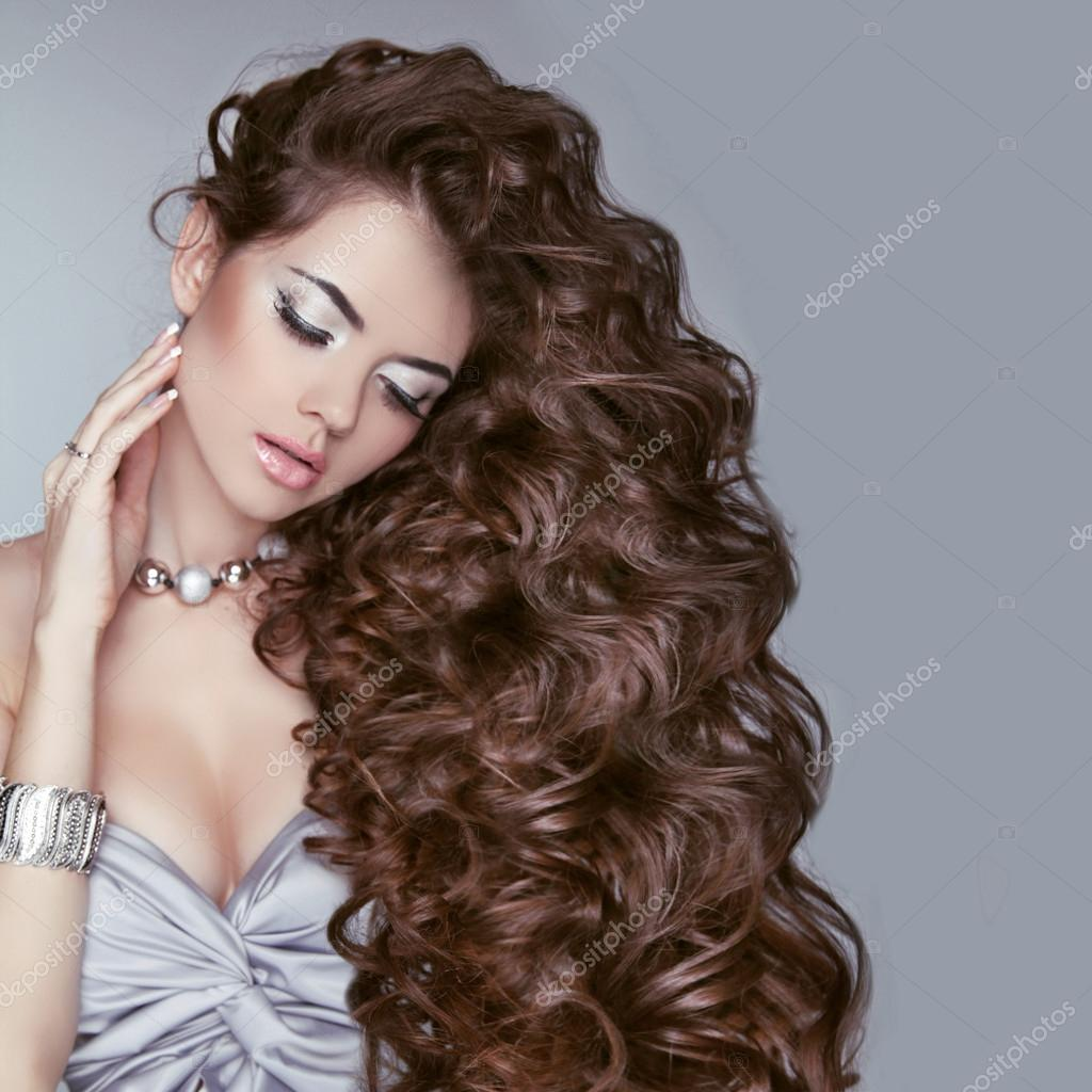 Hair Beauty Woman With Very Long Healthy Brown Curly Hair