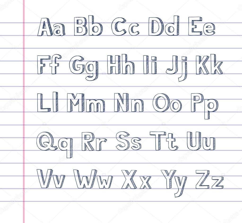Hand Getrokken Alfabet Op Gelinieerd Papier