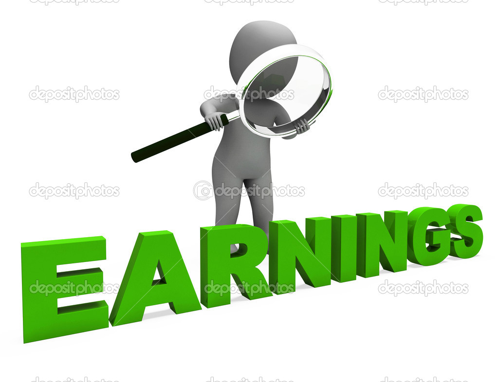 Earnings Character Shows Earning Revenue And Profitable Incomes — Stock Photo © stuartmiles #32853189