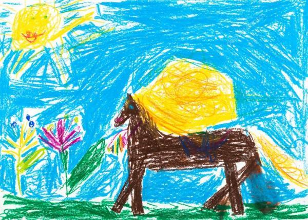 Детский рисунок лошадь. Детский рисунок - ссадины лошади ...