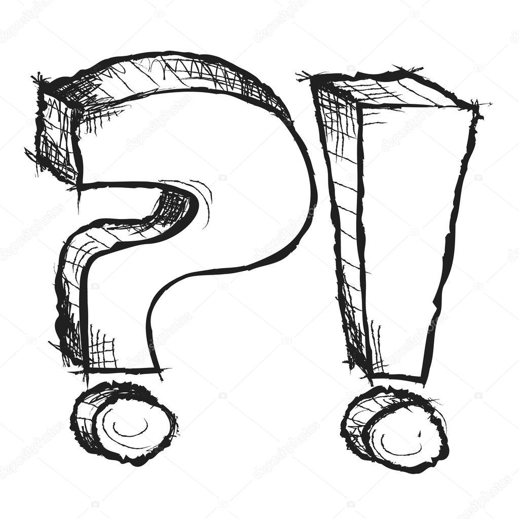 Skizzenhafte Hand Gezeichneten Frage Und Ausrufezeichen