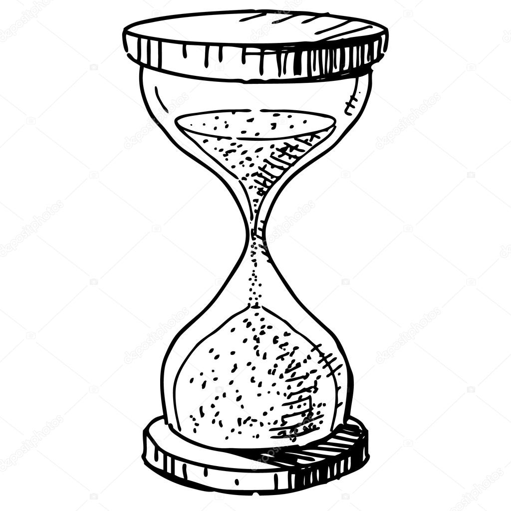 Horloge De Sablier Main Dessin Dessin Anime Esquisse