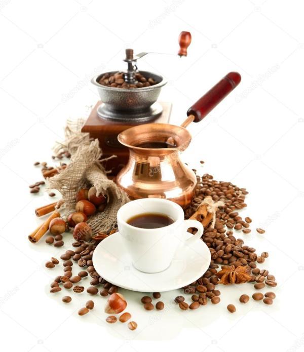Чашка и горшок кофе и кофейных зерен, изолированные на ...