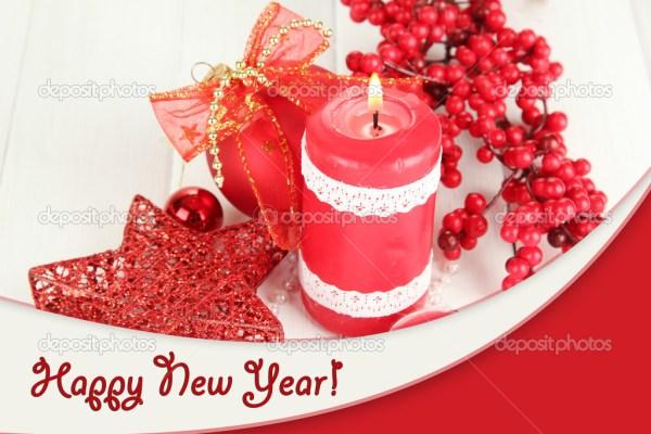 Красная свеча с рождественские украшения — Стоковое фото ...