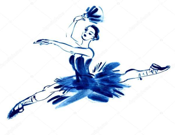 Blue ballerina drawing gouache Stock Photo 169 kharlamova