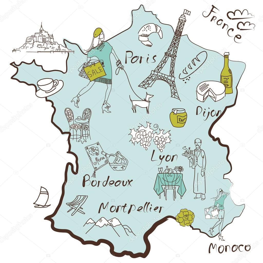 Stylized Map Of France