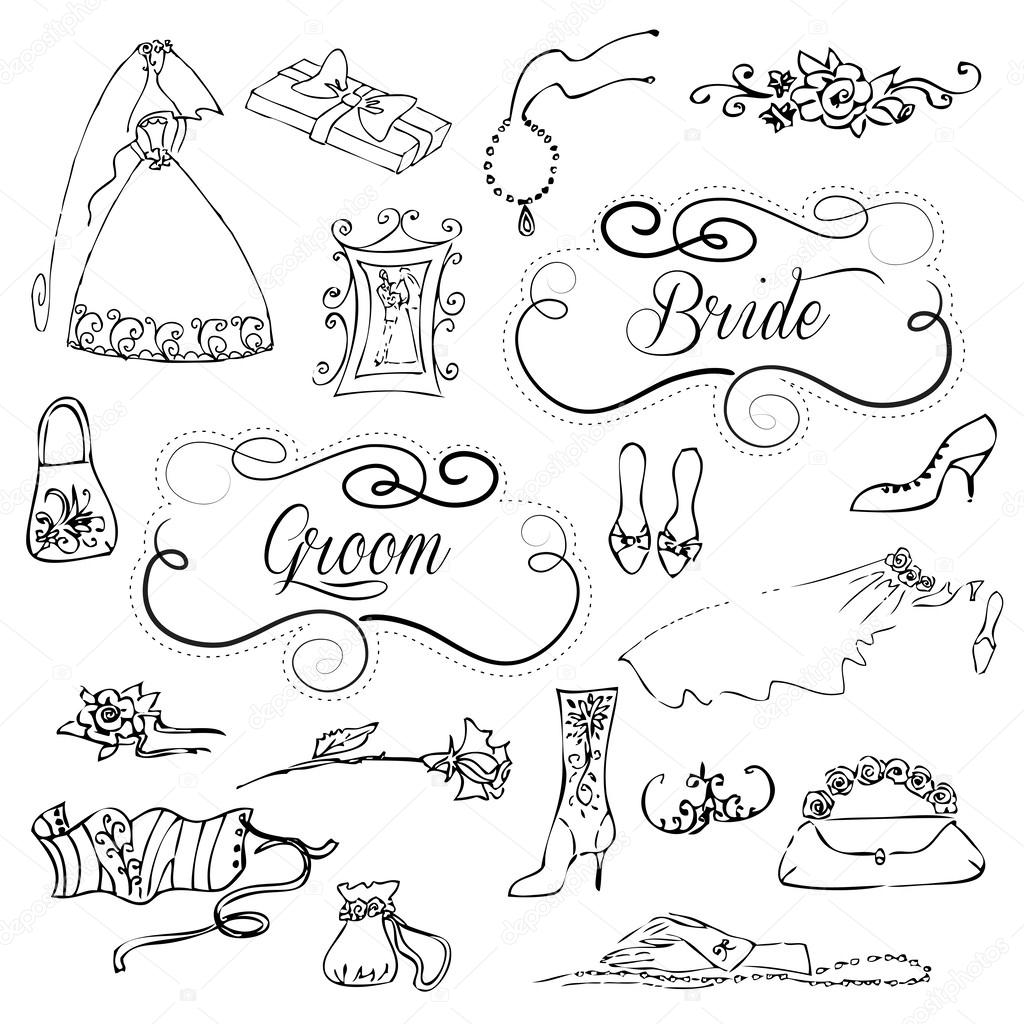 Matrimonio Set Di Simpatici Disegnini Glamour E Cornici