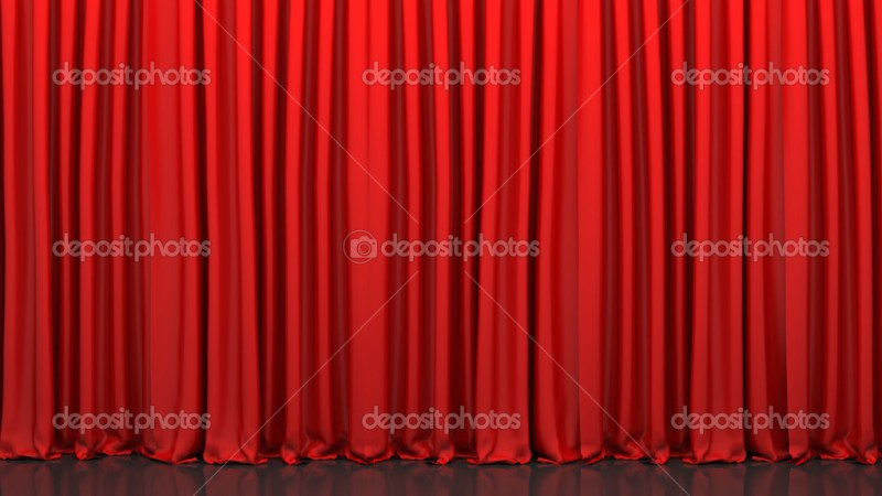 Red Closed Curtain Stock Photo