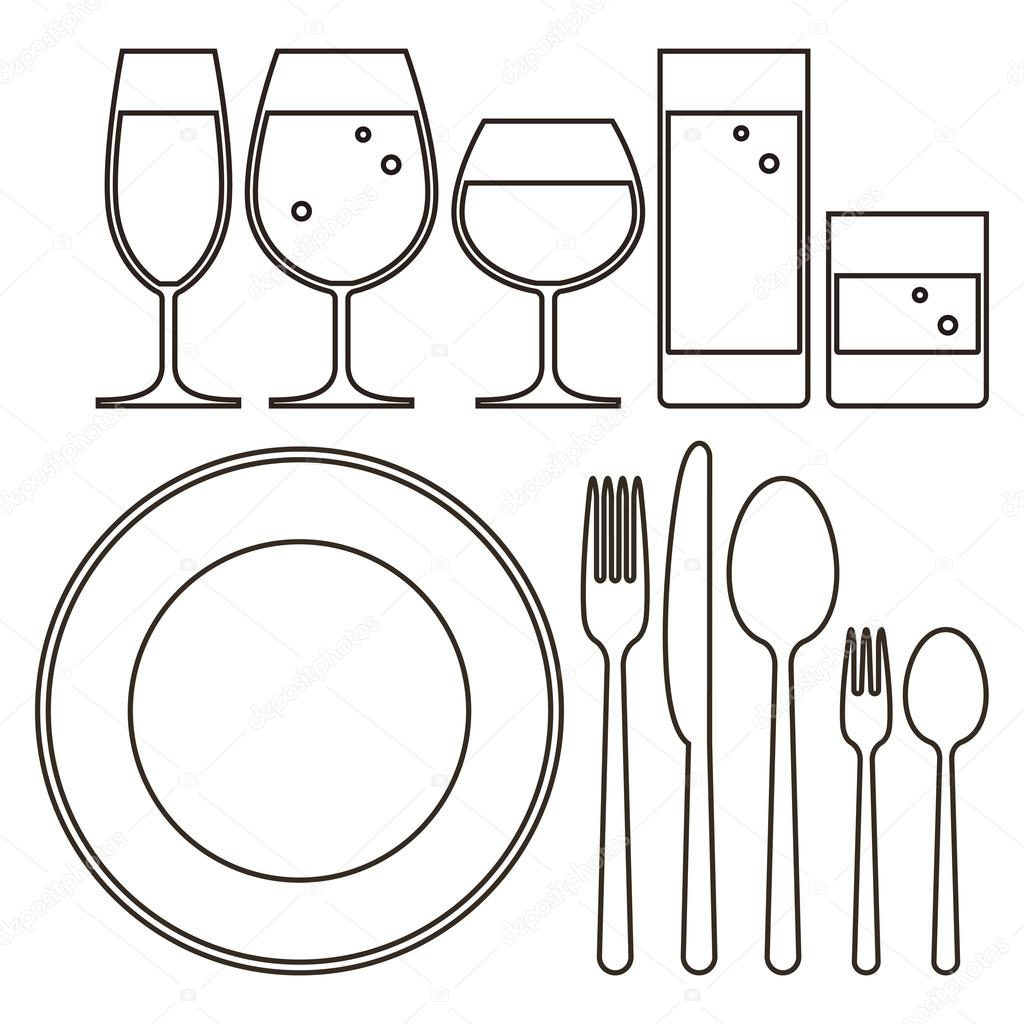 Plate Knife Fork Spoon And Drinking Glasses