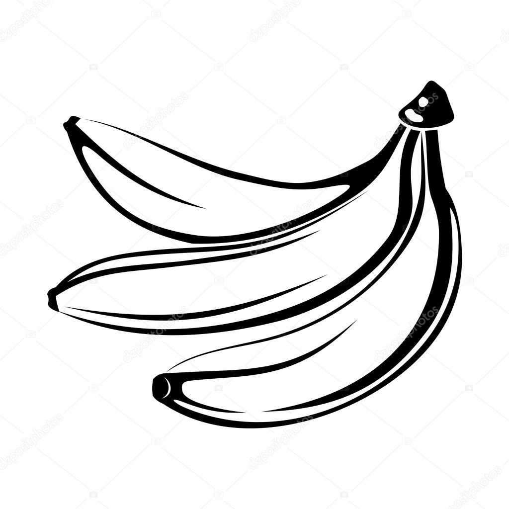 Black Silhouette Of Bananas Isolated On White Vector