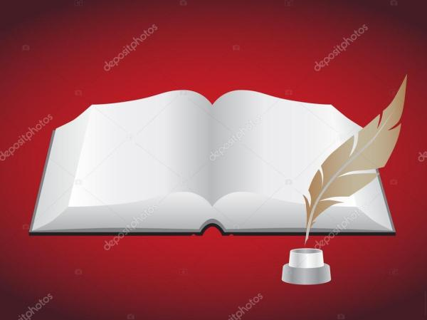 Фото: книга з пером. Открытая книга с пером — Стоковое ...