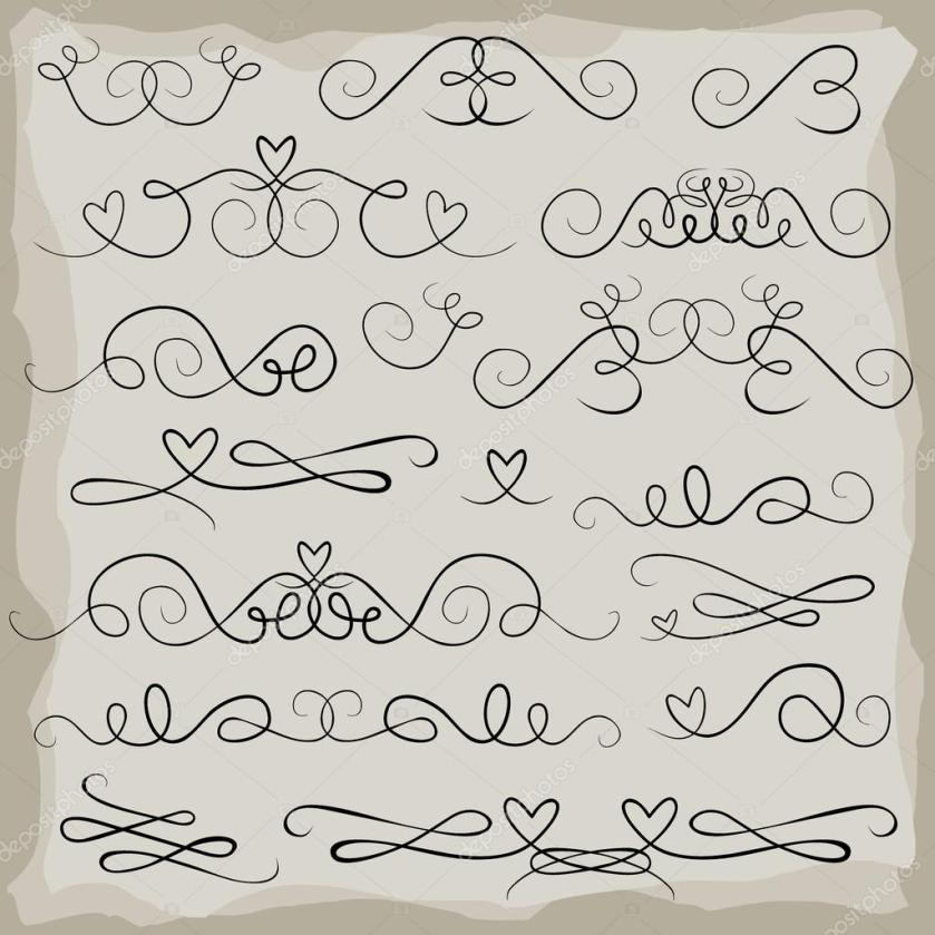 Wedding Invitation Announcement Vine Heart Doodle Header Set Gray Isolated Elements On Light Background Stock