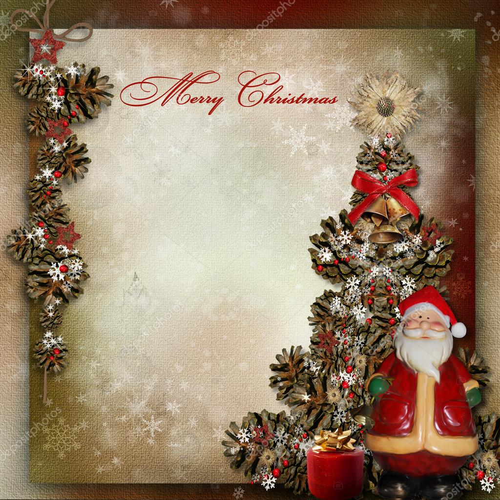 Vintage Background With Christmas Tree And Santa Claus