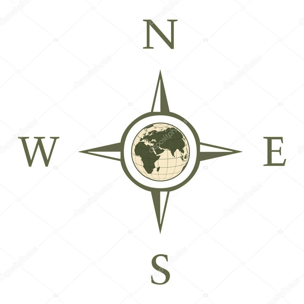 Bussola Ilustracao Com Norte Sul Leste Oeste