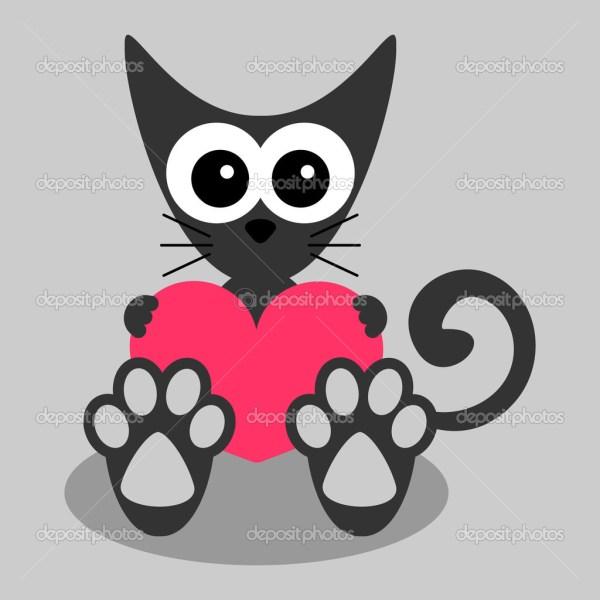 Котенок с сердцем. Милый маленький котенок, держит сердце ...