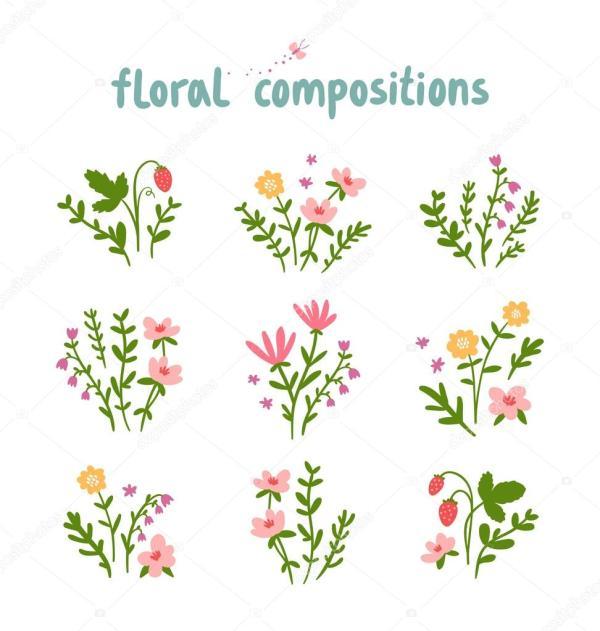 Коллекция векторов цветочных композиций — Векторное ...