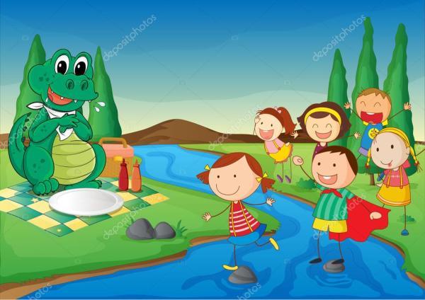 Крокодил на пикник и дети — Векторное изображение ...