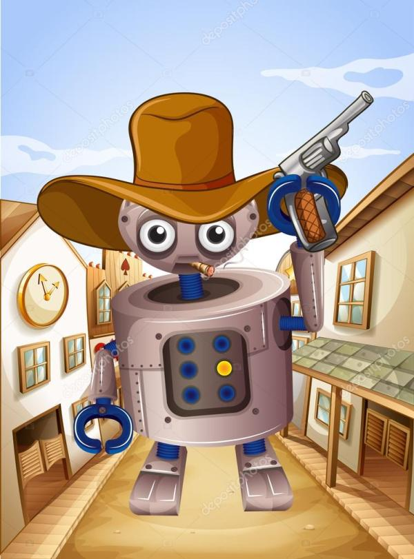 Робот в шляпе и держит пистолет — Векторное изображение ...