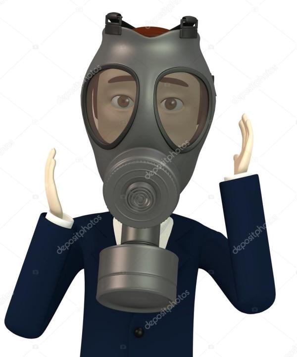 Homme dans un masque à gaz isolé sur blanc — Photographie ...