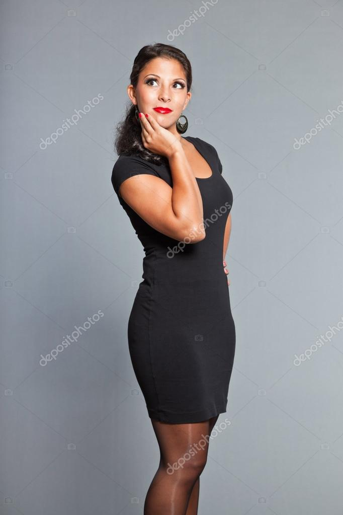 0dd7330de Pretty Girl With Brown Hair And Eyes Wearing Black Dress Red