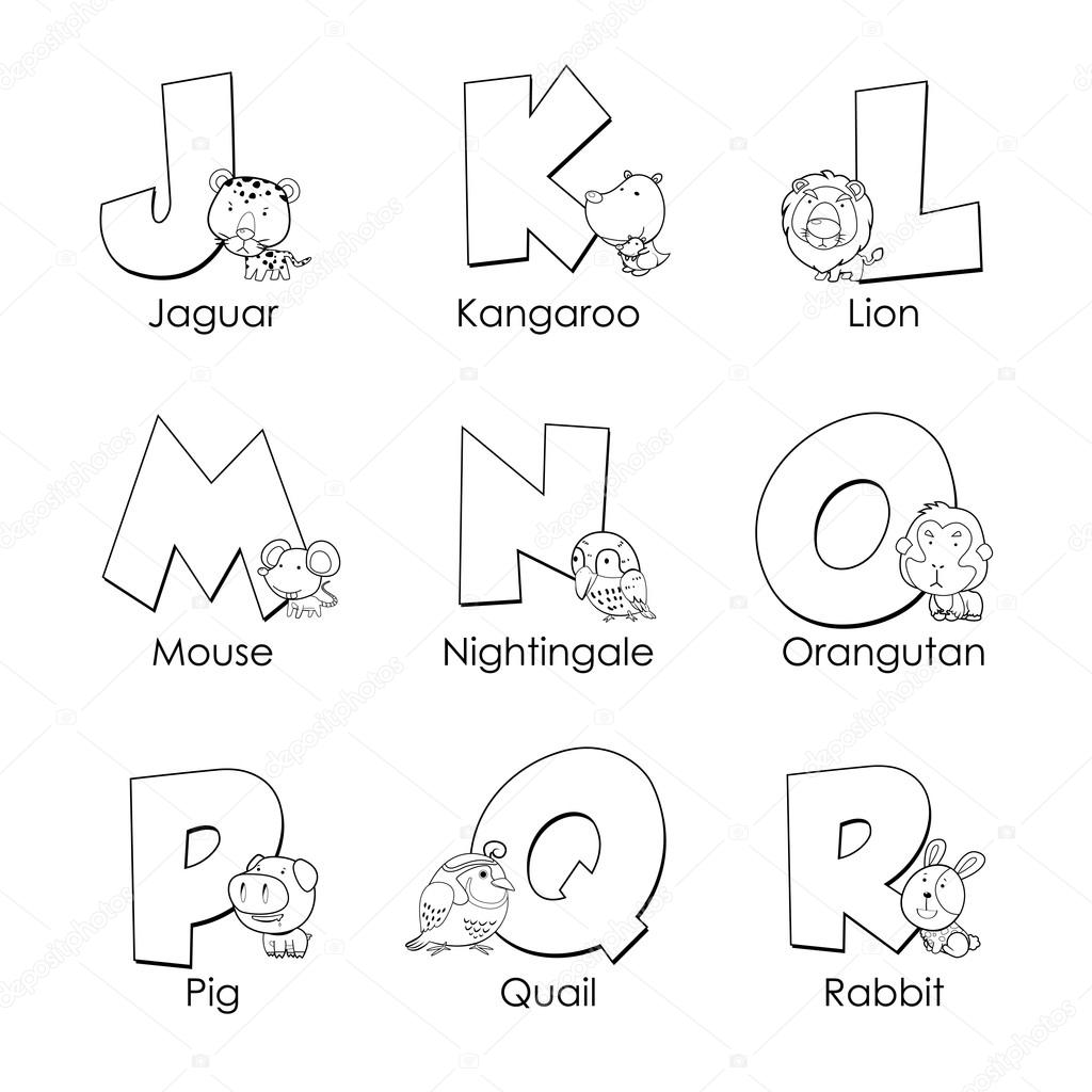 Coloring Alphabet For Kids J To R