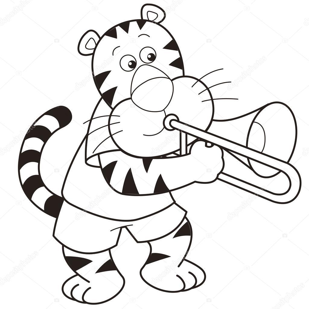 Desenho Tigre Tocar Um Trombone