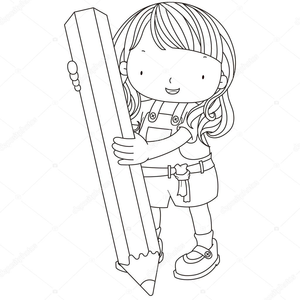 Illustration D Une Jeune Fille Avec Un Crayon A Colorier