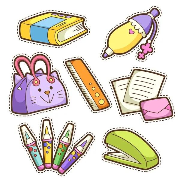 Школа набор. набор различных школьных предметов ...