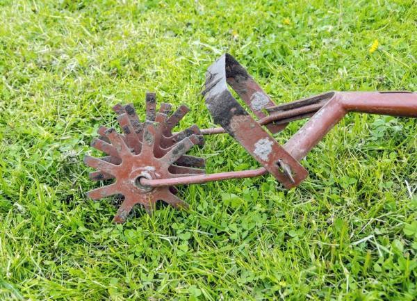 Старый садовый культиватор на зеленой траве — Стоковое ...