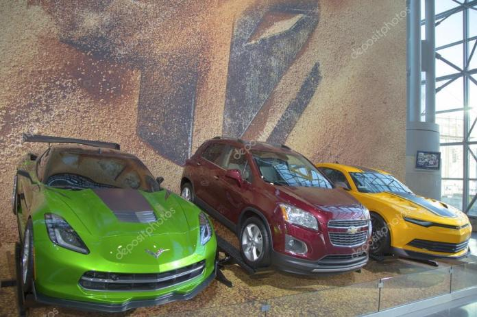Gm Cars Chevrolet Camaro Corvette Stingray C7 Concept And Chevrolet Sonic Rs Rally Car From New Movie Transformers Age Of Extinction On Display In New York Stock Editorial Photo C Zhukovsky 45806857