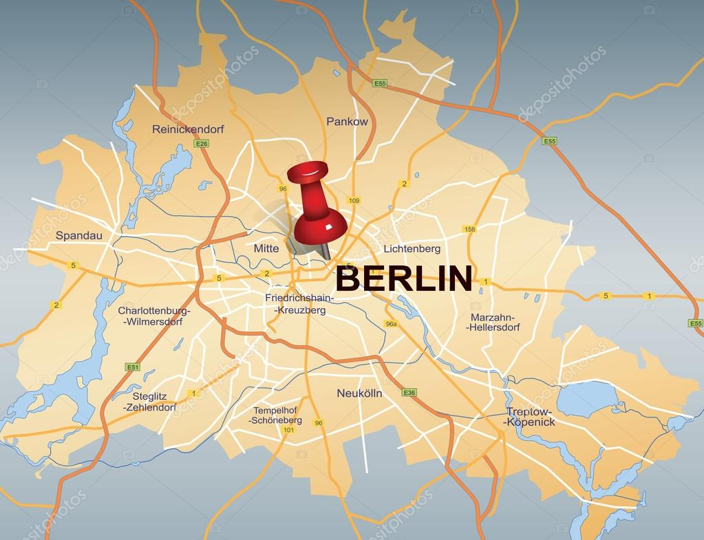 Map of Berlin with red push pin     Stock Vector      chrupka  37017833 Map of Berlin with red push pin     Stock Vector