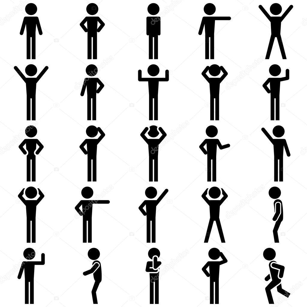 Strichmannchen Positionen Set Vektor Icon