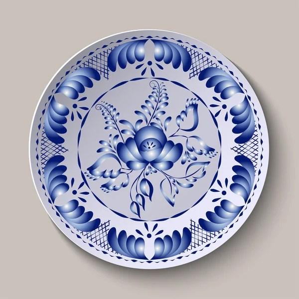 Круглый стиль Гжели синий цветочный орнамент. шаблон ...