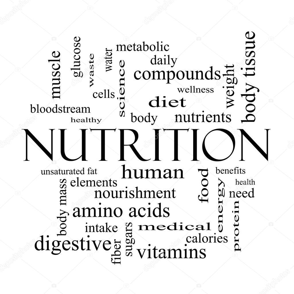 Concepto De Nube De Palabras De Nutricion En Blanco Y