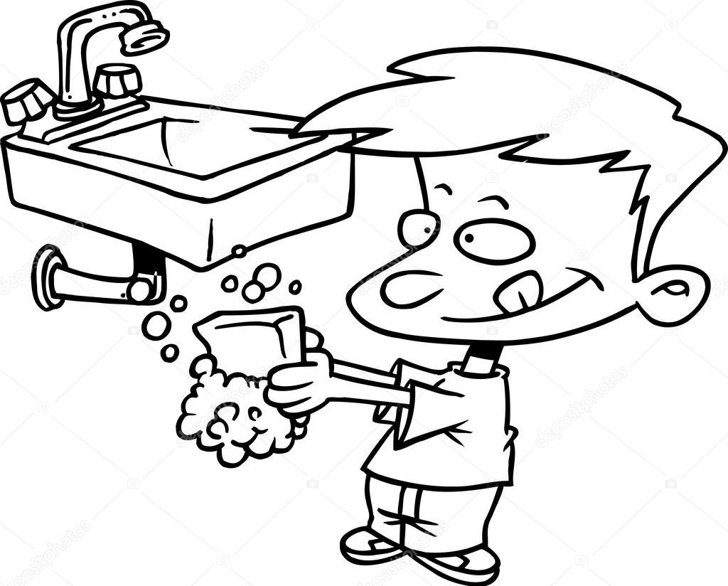 Nino De Dibujos Animados Lavandose Las Manos