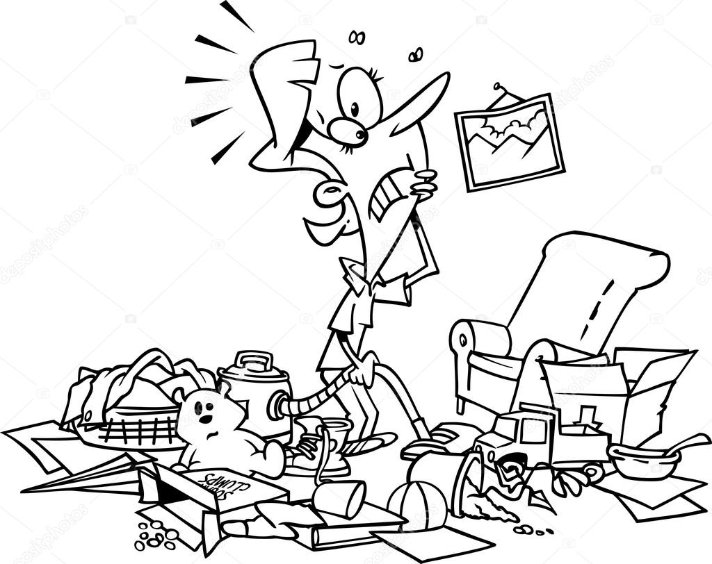 Cartoon Rommelig Huis
