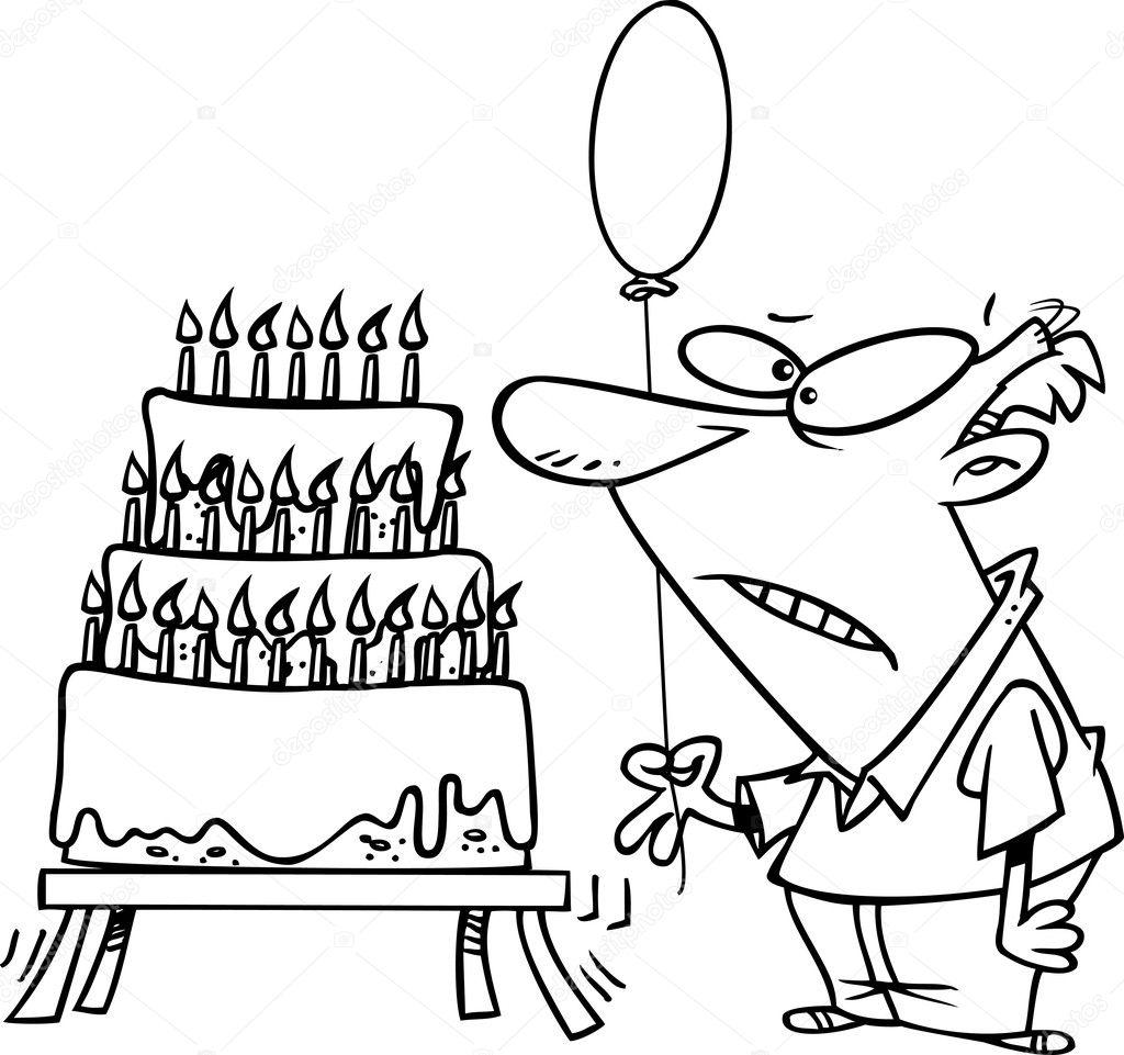 Cartoon Cake Van De Verjaardag Van De Oude Man