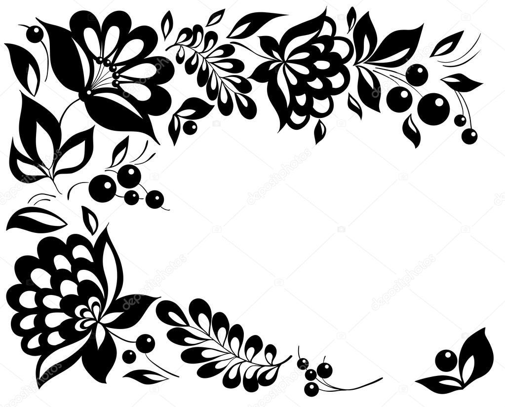 Svartvita Blommor Och Blad. Blommig Designelement I