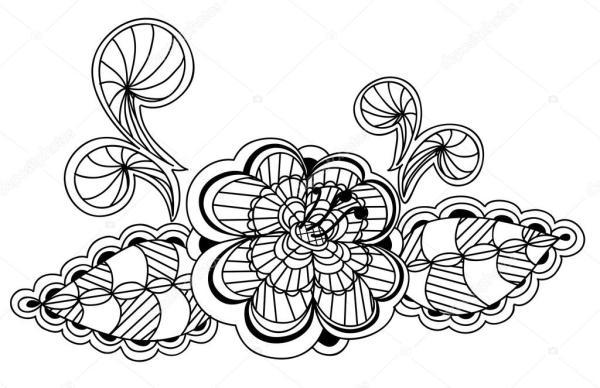 Элемент дизайна красивых чернобелый цветочный узор