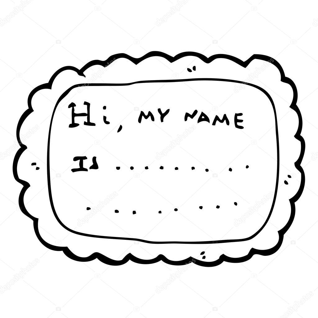 Girly Name Badge Cartoon