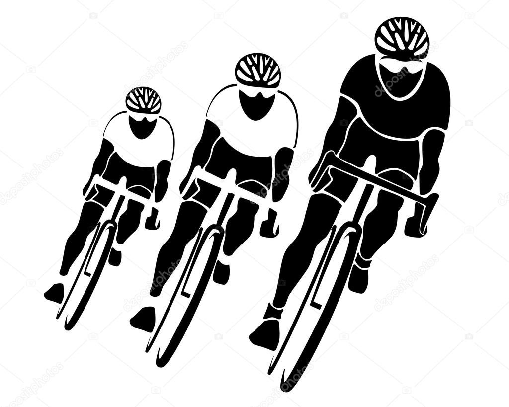 Three Cyclists Silhouettes