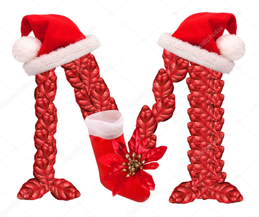 Christmas Letter M With Santa Claus Cap And Stocking