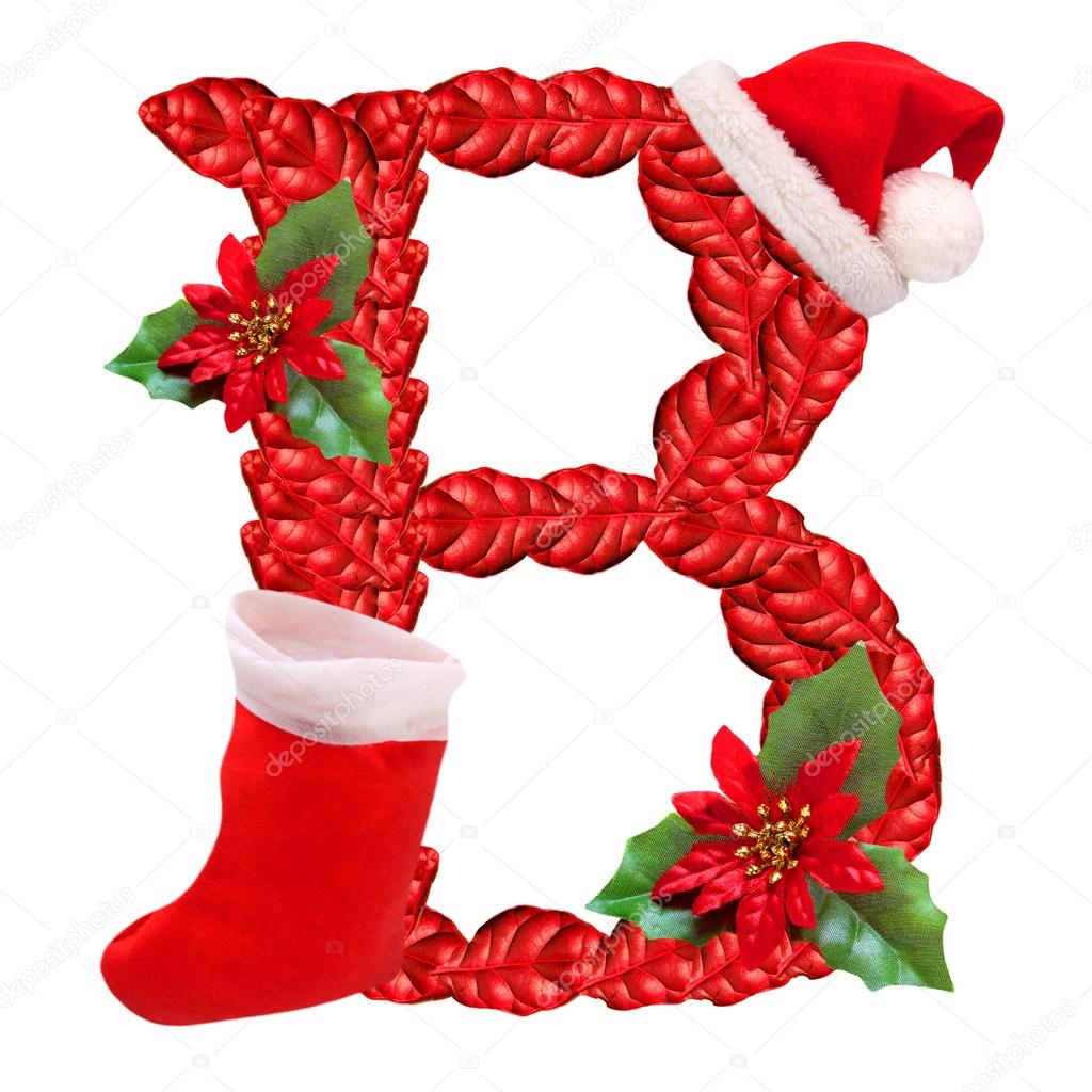 Christmas Letter B With Santa Claus Cap One Part Of Great Christmas Alphabet
